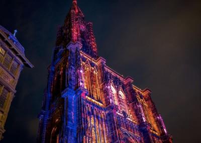 Vue nocturne de la Cathédrale de Strasbourg